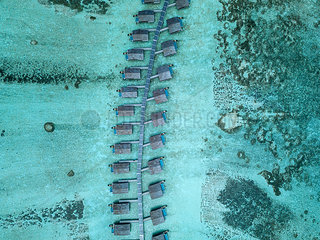 Maldives  Aerial view of water bungalows