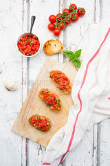 Bruschetta with tomato  basil  garlic and white breah