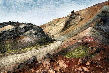 Iceland  South West  Landmannalaugar  landscape and path