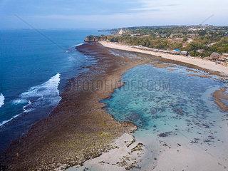 Indonesia  Bali  Aerial view of Balangan beach