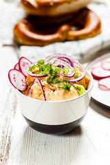Obatzda with red onion  radish and spring onion