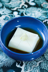 Goma dofu (Japanese tofu specialty made from sesame and kudzu powder) with soy sauce and horseradish