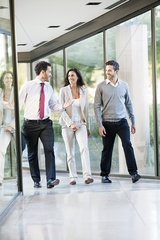 Businessman engaged in walk and talk with associates