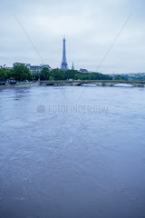 France  Paris  Eiffel Tower viewed from the Seine River