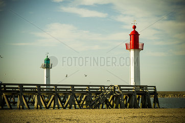 Lighthouses at Trouville-sur-Mer  Normandy  France