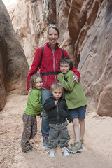 Mother and children hiking together  portrait