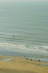 Vacationers walking on beach