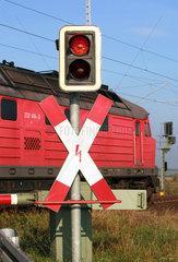 Angermuende  Deutschland  Verkehrsschild Andreaskreuz mit Warnampel an Bahnuebergang