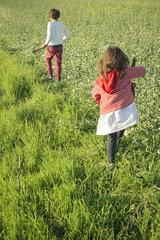 Children walking in field  rear view