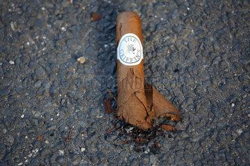 Dresden  Deutschland  halbgerauchte Zigarre liegt auf Asphalt