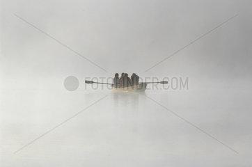 Ruderer im Nebel  Plansee  Oesterreich