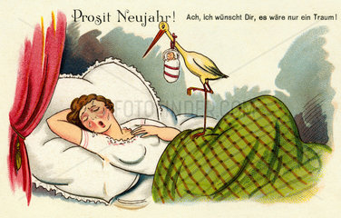 Frau schlaeft  Albtraum Schwangerschaft  Humor  1914