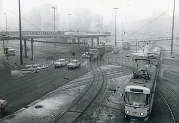 Smog in der Leipziger Innenstadt  Dezember 1989