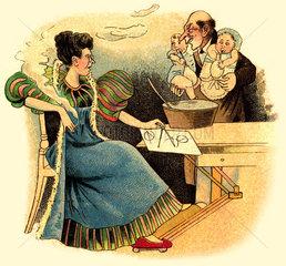 emanzipierte Frau  Hausmann  Kinder  Karikatur  um 1913