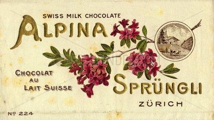 Alpina Schokolade von Spruengli  Schweiz  um 1913