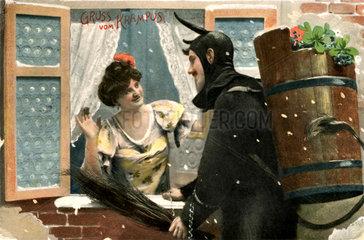 Krampus besucht Frau  1907