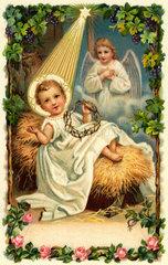 Christkind in der Krippe  Weihnachtskarte  1902
