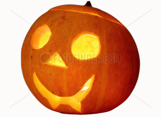 ausgehoelter Kuerbis  Licht  Halloween