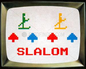 eines der ersten Videospiele  Ski Slalom