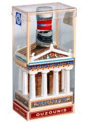 Minischnapsflasche in Form eines Tempels  Souvenir aus Griechenland