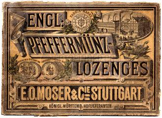 Werbung fuer Pfefferminz-Bonbons  um 1883