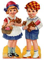 Kinder mit Lebkuchen  um 1927