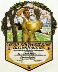 Schweizer Imkerverein  Urkunde  1955