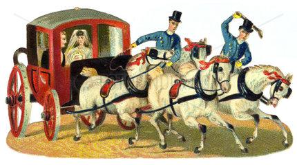 Hochzeitskutsche mit Pferden  um 1880