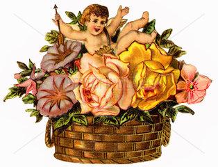 Blumenkorb mit Liebesengel  um 1900