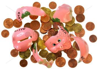 zerdeppertes Sparschwein  Kleingeld