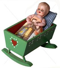 Baby  Wiege  50 Euroschein  Symbolfoto