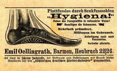 Einlagen gegen Plattfuesse  Werbung  1917