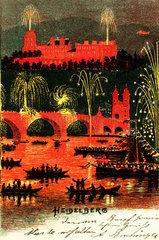 Heidelberg bei Nacht  Feuerwerk  1898