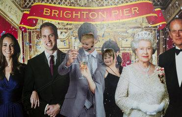 Brighton  Grossbritannien  Fotowand mit der Royal Family