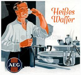 Mann beim Rasieren  Heisswasserbereiter von AEG  1936