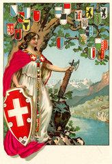 Helvetia  allegorische Darstellung der Schweiz  1904