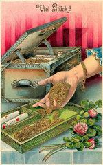 Geld  Reichtum  Muenzen  Illustration  1910