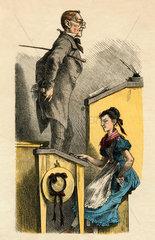 Lehrer  Schuelerin  Karikatur  um 1875