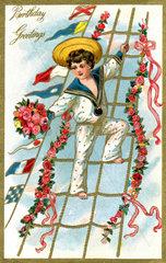 Geburtstagskarte  Matrose  1911