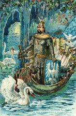 Koenig Ludwig II. als Lohengrin  um 1909