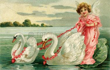 Engel  zwei Schwaene  Kitsch  1907