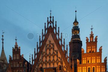 Breslau  Polen  das Rathaus auf dem Marktplatz