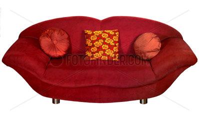 rotes Sofa  80er Jahre