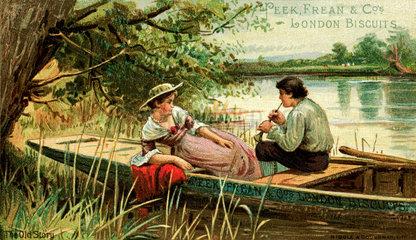 Liebespaar  Bootsausflug  um 1900