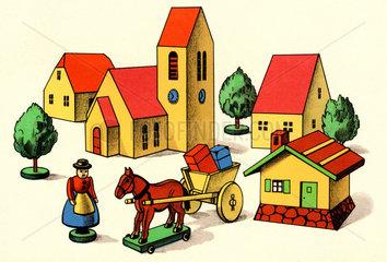Dorf  Illustration Holzspielzeug  um 1932