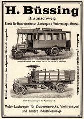 Buessing Werbung  Omnibus und LKW  1905