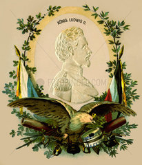 Koenig Ludwig II.  Gedenkkarte  um 1901