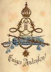 Monogramm Ludwig II  bayerischer Koenig  um 1900