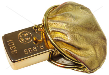 Goldbarren im Portemonnaie