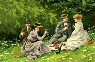 Picknick  Paare  Ausflug  1901
